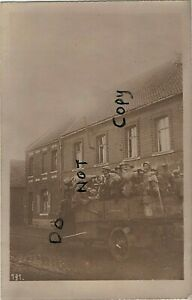 WW1 British Prisoners of War & German soldiers being transported by Motor Lorry