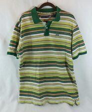 Enyce short sleeve polo golf cotton shirt Green Yellow Orange striped XXL 2XL
