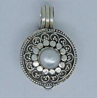 Vintage LOCKET PHOTO BOX Freshwater Pearl Pendant in 925 Sterling Silver - #K21