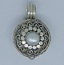 Vintage Medallón Foto Caja Perla de Agua Dulce Colgante en Plata Ley 925 - #K21