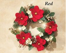 Beautiful LED Lighted Red Magnolia Holiday Christmas Door Wreath