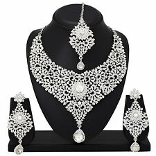 Indian Bollywood Bridal Silver Plated New Diamond Necklace Earrings Jewelry Set