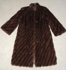Vintage Mink Fur Coat, Gartenhaus, Below Knee Length Striped Brown Lined Small