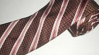 Ike Behar Tie Luxury Brown Stripe Jacquard Woven Thick Necktie Designer Silk NEW