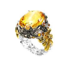 925 Sterlingsilber Ring, Weiß/Gelbgold beschichtet, Natural Orange-Gelbe Citrine