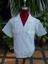 50's Style Retro Mens Rockabilly Bowling Green stripe 2 pocket shirt  loop SALE