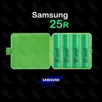 4 SAMSUNG INR18650-25R Rechargeable 2500mAh 20A Flat Top Battery / Green Case