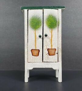 "Miniature Hand Painted Wood Dollhouse Furniture 6"" Wardrobe Armoire Closet EUC"