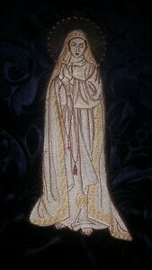Our Lady Of Fatima Virgin Mary Embroidered on Embossed Velvet