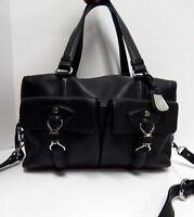 Cole Haan Black Leather Convertible Satchel Crosbody Bag
