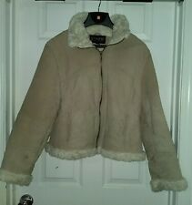 Womens STATIC Jacket Coat size Large Tan Leather fully lined Warm