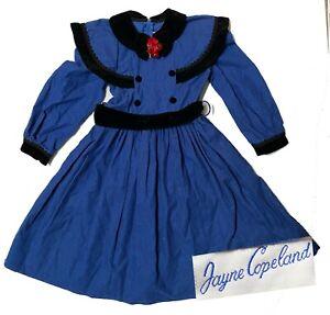 Vintage Jayne Copeland Girl Blue Polka Dot Corduroy & Black Velvet Dress Sz 6