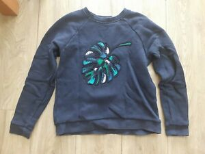 Whistles Navy Cotton Sweatshirt Jumper Leaf XS EXTRA SMALL