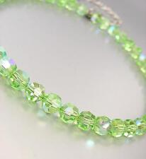 """EXQUISITE Shimmery Light Green Peridot Iridescent Crystals 15"""" Choker Necklace"""