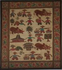 Rare Malay Malaysian Batik Painting w/ Farmers Oxen & Building Signed 20th c.