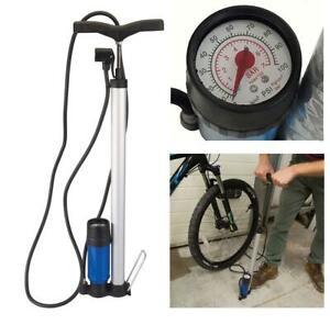 BICYCLE TRACK TYRE PUMP PRESTA SCHRADER WITH PRESSURE GAUGE - LIFETIME GUARANTEE