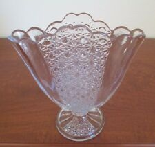 Fenton, Daisy & Button, Clear Glass, 9 1/2  inch Fan Vase