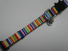 Multi Coloured Stripes Cat Kitten Safety Collar, Breakaway Collar
