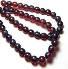 25 8mm Red Beads Ruby Shiny Picasso Finish Round High Quality Czech Glass T-1B
