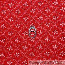 BonEful Fabric FQ Cotton Quilt VTG Red White Flower Dot Calico Xmas Valentine US