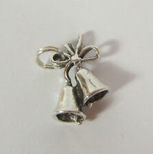 Silver Wedding Bells Charm Pendant 925 Sterling Silver USA Made Chrismas Jewelry