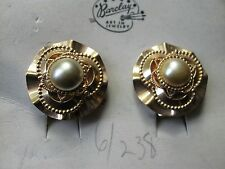 BARCLAY FAUX PEARL GOLDTONE CLIPBACK EARRINGS NEW ON BARCLAY CARD