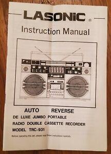 Lasonic TRC-931 Boombox - Instruction Manual Only