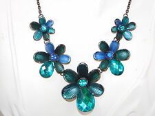 Aqua Sapphire Blue Enamel Rhinestone Flower Pendant Japanned Necklace 8f 6