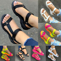 Women's Hook Loop Ankle Strap Open Toe Sandals Summer Casual Wedge Heel Shoes