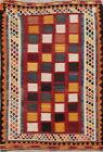 Vintage Checked Hand-Woven Geometric Kilim Kashkoli Oriental Wool Area Rug 5'x8'