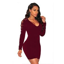 Fashion Women Long Sleeve Lace Up V Neck Bodycon Cocktail Mini Dress Sexy