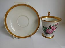19TH CENTURY LIPPERT & HASS SCHLAGGENWALD HAND PAINTED COFFEE CUP AND SAUCER