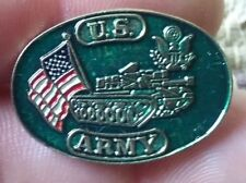 New listing U.S. Army lapel pin pre-owned U.S.A Flag with tank