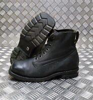 Genuine Vintage Leather 1980's  Swedish Military Black Square Toe Boots