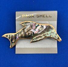 Vintage Paua Shell Abalone Gold Tone Dolphin Brooch Pin Nautical Ocean Life