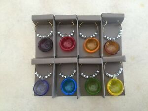 Pier 1 Imports Stemware Wine Glass Charms - 8 Different Color Circles - Beaded