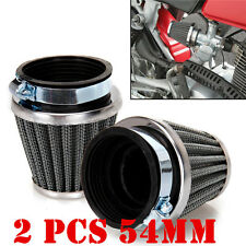 Motorcycle 2pcs 54mm Tapered Chrome Pod Air Intake Air Filters Clean+Hose Clamp