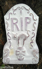 "plaster concrete free standing mini Tombstone w/ cat poly plastic mold 6""H x 4""W"