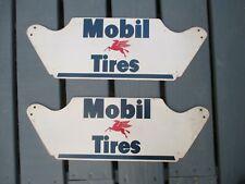 Vintage Mobil Tires tire rack display signs * set of 2