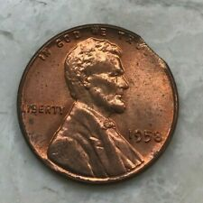 1958 Lincoln Wheat Cent Error Clip Clipped Planchet - Red Uncirculated