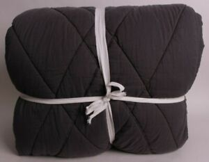 Pottery Barn Teen Ryder Rugged FQ quilt full queen faded black gray *sample*
