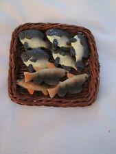 Byers Choice Doll Accessory Wicker Tray of Fish. Euc F3