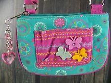 BUTTERFLY crossbody handbag GIRLS no use seen heart charm purple aqua EUC