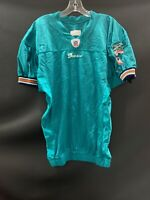 MIAMI DOLPHINS GAME USED REEBOK BLANK ON FIELD AQUA JERSEY SIZE 44 YEAR 2005