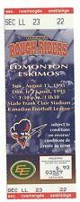 1995 Ottawa Rough Riders CFL complete unused ticket stub vs Edmonton Eskimos