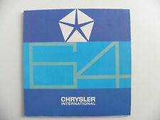 Brochure CHRYSLER international Suisse/ Valiant. Dart. Plymouth. Dodge. Impérial