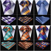 HISDERN Mens Silk Ties Paisley Woven Necktie Party Wedding Handkerchief Set#RC2