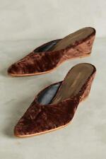 Rachel Comey Womens Simone Sweetheart Wedge Mules Shoes Brown Velvet 7 New
