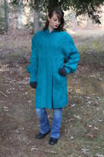 Vintage 80s Yarn Works TEAL Nubby Retro Open SWEATER Jacket Cardigan Grunge M L
