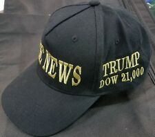 "DONALD TRUMP ""FAKE NEWS"" DOW 21,000 METALLIC GOLD EMBROIDERED HAT*NEW* AMAZING!"